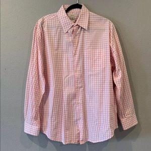 Merona Light Pink Salmon White Plaid Dress Shirt